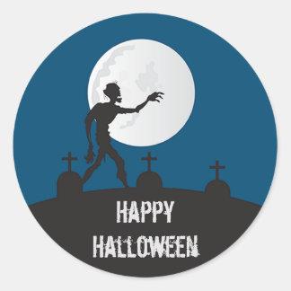 Feliz Halloween del zombi Pegatina Redonda