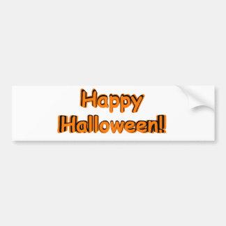Feliz Halloween en naranja y negro Etiqueta De Parachoque
