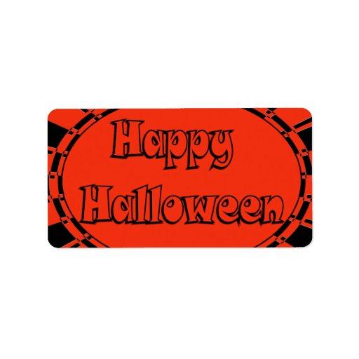 Feliz Halloween Etiqueta De Dirección