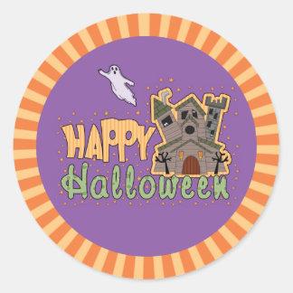Feliz Halloween frecuentado del castillo Pegatina Redonda