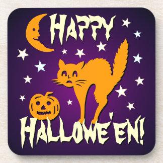 ¡Feliz Halloween! Gato anaranjado con la calabaza Posavasos De Bebida