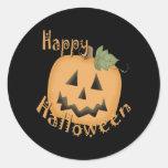 Feliz Halloween Jack sonriente O'Lantern Pegatinas Redondas