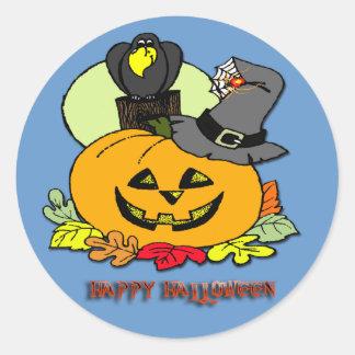 Feliz Halloween - la calabaza, canta alrededor del Etiquetas Redondas