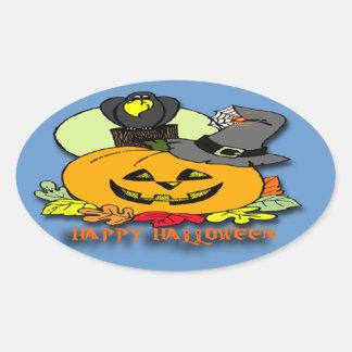 Feliz Halloween - la calabaza, canta pegatina oval