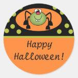Feliz Halloween lindo de la araña Etiqueta Redonda