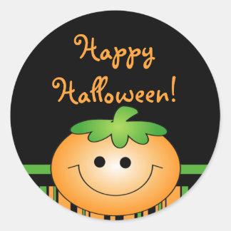 Feliz Halloween lindo de la calabaza Pegatina Redonda