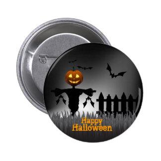 Feliz Halloween - linterna de Scarecrrow Pin Redondo De 2 Pulgadas