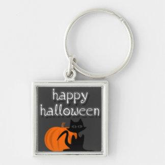 Feliz Halloween Llavero Cuadrado Plateado