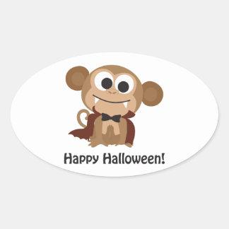 ¡Feliz Halloween! Mono del vampiro Pegatina Ovalada