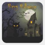 Feliz Halloween Calcomanías Cuadradass Personalizadas
