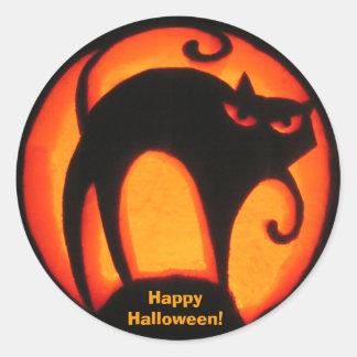 ¡Feliz Halloween! Pegatina asustadizo del gato