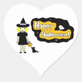 Feliz Halloween Pegatina En Forma De Corazón
