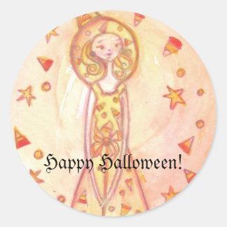 ¡Feliz Halloween! Pegatinas de la bruja del Pegatina Redonda