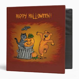 """¡Feliz Halloween! Perro y araña del palo del gato Carpeta 1 1/2"""""""