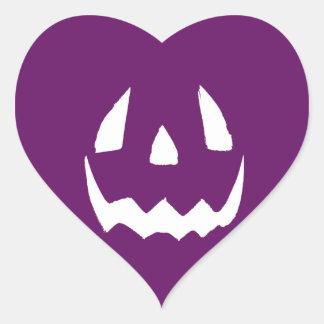 Feliz Halloween púrpura Pegatina En Forma De Corazón