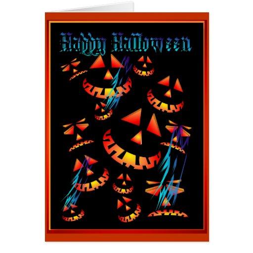 Feliz Halloween que hace muecas las calabazas. Tar Tarjeta