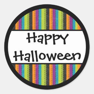Feliz Halloween rayado Pegatina Redonda
