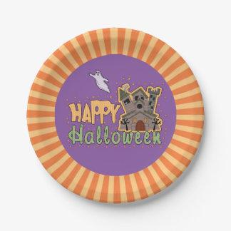 Feliz Halloween Starburst Plato De Papel De 7 Pulgadas