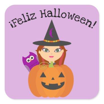 "Halloween Themed ""Feliz Halloween"" Sticker with Cute Witch"