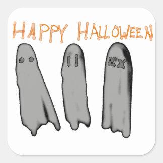 Feliz Halloween tres fantasmas del dibujo animado Pegatina Cuadrada