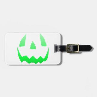 Feliz Halloween verde del resplandor Etiqueta Para Equipaje