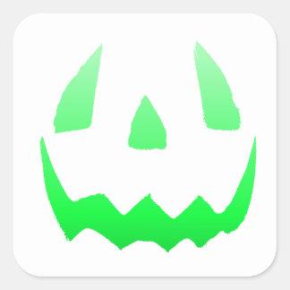 Feliz Halloween verde del resplandor Pegatina Cuadrada