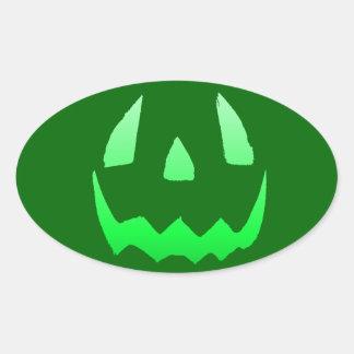 Feliz Halloween verde del resplandor Pegatina Ovalada