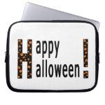 Feliz Halloween y calabazas Funda Portátil