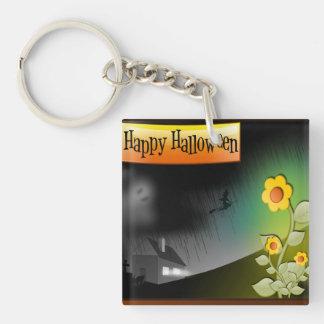 Feliz Halloween y flores - Llavero Cuadrado Acrílico A Doble Cara