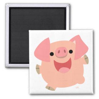 Feliz imán del cerdo del dibujo animado