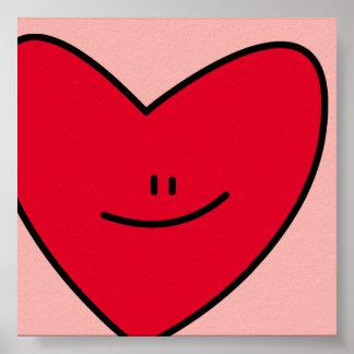 Feliz impresión del corazón posters