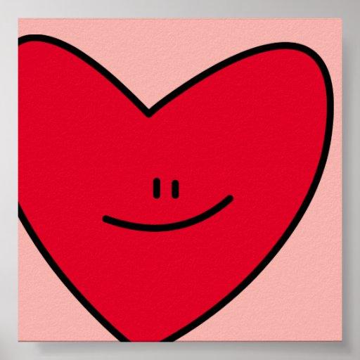 Feliz impresión del corazón póster