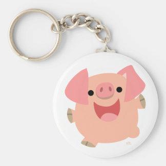 Feliz llavero del cerdo del dibujo animado