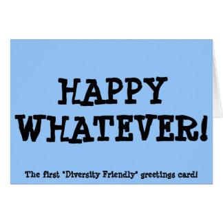 Feliz lo que - tarjeta de Navidad amistosa de la