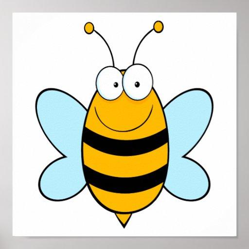 feliz manosee el dibujo animado torpe de la abeja poster
