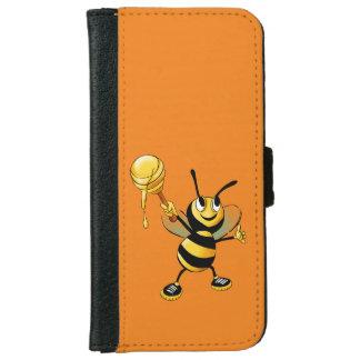 Feliz manosee la abeja con una cucharada de la funda cartera para iPhone 6