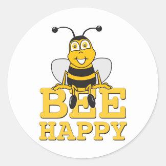 Feliz manosee la abeja pegatina redonda