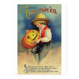 Feliz muchacho de Halloween Tarjetas Postales