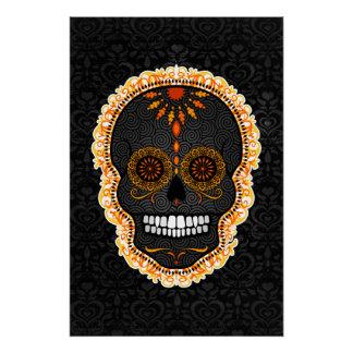 Feliz Muertos - Black & Orange Sugar Skull Damask Perfect Poster
