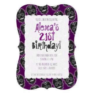 Feliz Muertos Black Sugar Skulls on Purple Card