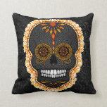 Feliz Muertos - cráneo del azúcar en la almohada