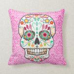 Feliz Muertos - cráneo del azúcar en la almohada d