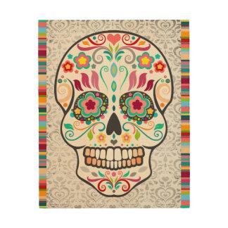 Feliz Muertos - cráneo y rayas festivos del azúcar Impresión En Madera