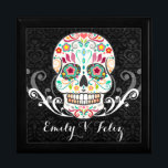 """Feliz Muertos - Custom Sugar Skull Keepsake Box<br><div class=""""desc"""">A fun &amp; festive sugar skull keepsake gift box and sample text you can easily edit with a name or brief message - click CUSTOMIZE to change text color and font</div>"""