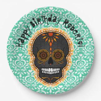Feliz Muertos - Custom Sugar Skull 9 Inch Paper Plate