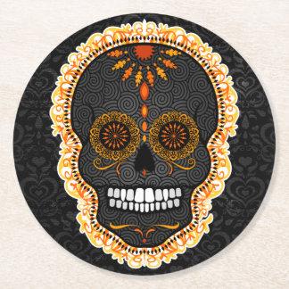 Feliz Muertos - Festive Sugar Skull Coasters Round Paper Coaster