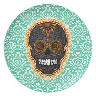 Feliz Muertos - Festive Sugar Skull Dinner Plate