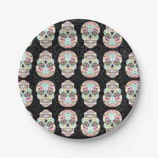 Feliz Muertos - Festive Sugar Skull Pattern 7 Inch Paper Plate