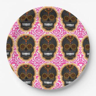 Feliz Muertos - Festive Sugar Skull Pattern 9 Inch Paper Plate