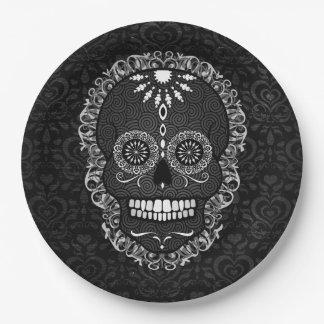 Feliz Muertos - Festive Sugar Skull 9 Inch Paper Plate